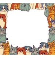 Group Cats frame border isolate on white vector image