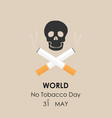 human skull and quit tobacco signmay 31st world vector image