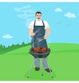 Man male cook preparing meal on the grill vector image