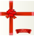 White background with red bow and ribons vector image