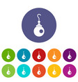 earring icons set flat vector image
