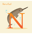 Animal alphabet with narwhal vector image vector image