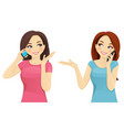 friends talking on phone vector image