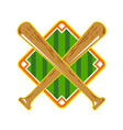 Baseball Diamond Crossed Bat Retro vector image