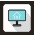 Computer monitor with architecture program icon vector image vector image