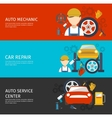 Auto Mechanical Service Horizontal Banners Set vector image