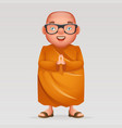 cute buddhist monk traditional asian buddhist vector image