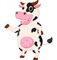 cute cow cartoon waving hand vector image