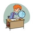 Geography Student boy looking globe vector image