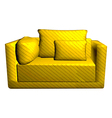 leather yellow Sofa with pillows isolated on white vector image