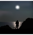 Loving couple on the seashore at night vector image