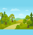 natural landscape with village road and trees vector image