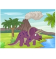 Prehistoric scene with triceratops cartoon vector image