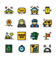 thin line taxi icons set vector image
