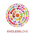 colorful hearts logo poster vector image