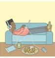 Man lying on sofa vector image