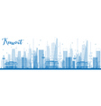Outline Kuwait City Skyline with Blue Buildings vector image