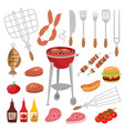 bbq barbecue isolated elements set with outdoor vector image