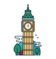big ben tower in london trees red bus vector image