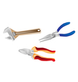 Colorful Set of Wrench and Pliers vector image