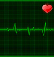 green electrocardiogram waves with red heart vector image
