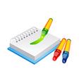 icon crayon and sketchbook vector image