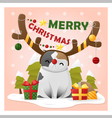 Merry Christmas Greeting Card with cat wearing vector image
