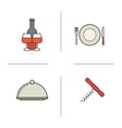Restaurant kitchen items color icons set vector image