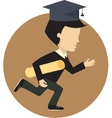 Graduated student running to the finish line vector image