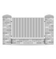 brick fence vector image