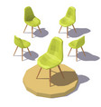 isometric green office chair vector image