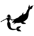 mermaid swimming dolphin vector image