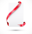 realistic blank paper and red ribbon vector image