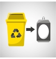 trash yellow can icon recycle vector image