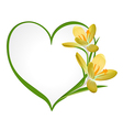 Yellow crocus with a frame in the shape of heart vector image