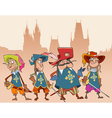 four cartoon funny characters soldiers Musketeers vector image