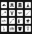 fishing tools icons set squares vector image
