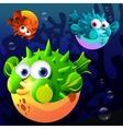 Cartoon blowfish vector image