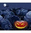 cartoon Halloween pumpkin glowing in the night box vector image