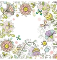 greeting card floral background doodle style vector image