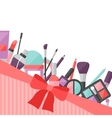 Beauty background with icons cosmetics vector image