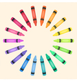 Crayons Circle Rainbow Color Frame vector image