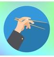 hand holding chopsticks flat vector image