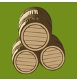 isolated wooden barrels vector image