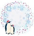 New Year frame with penguins vector image