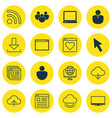 set of 16 internet icons includes team mouse vector image