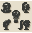 women hairstyle icons vector image