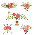 Set of floral graphic elements vector image