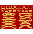 gold bannerlaurel wreath and crown set vector image