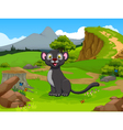 funny black panther cartoon in the jungle vector image vector image